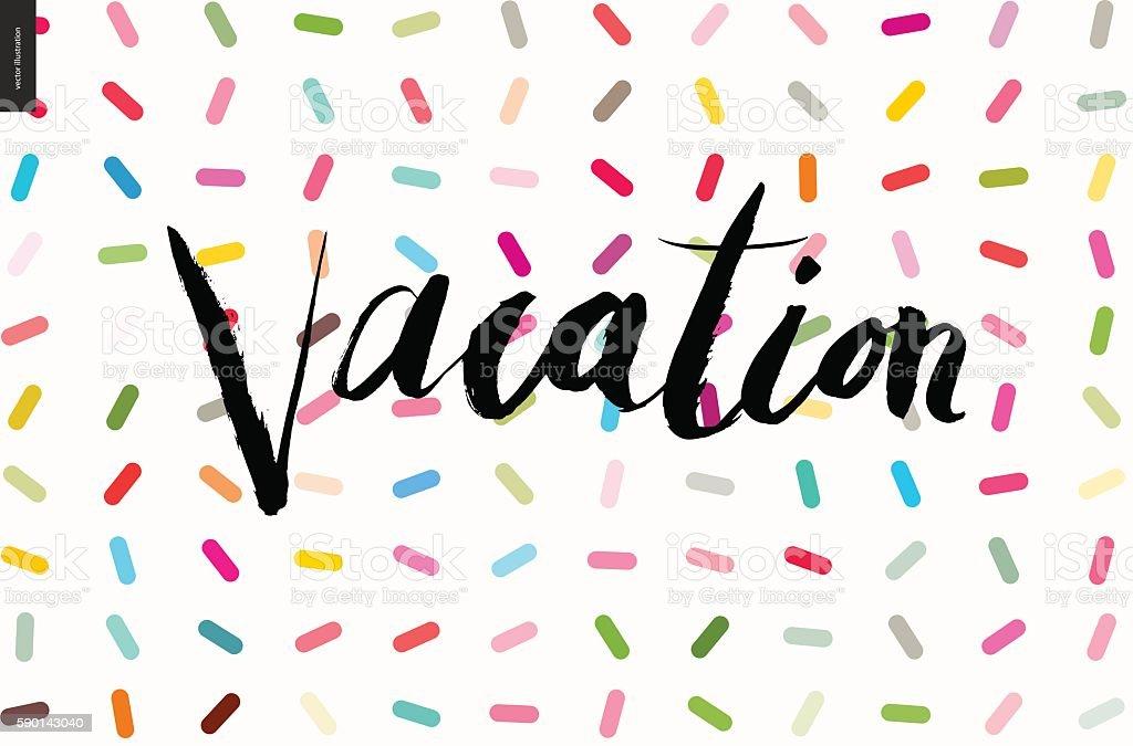 Vacation lettering on sprinkles pattern vector art illustration