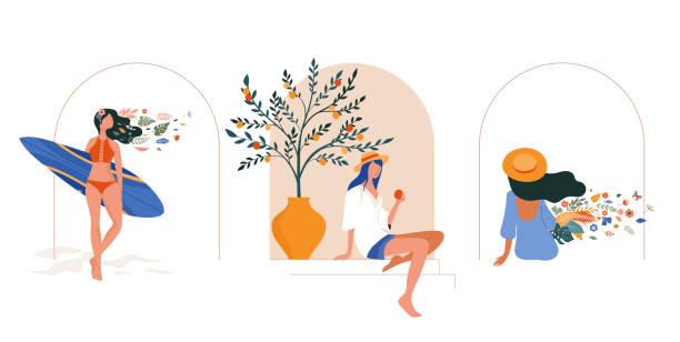 ilustrações de stock, clip art, desenhos animados e ícones de vacation mood, feminine concept illustration, beautiful women in different situations, on the beach, sitting near the pool, reading books. flat style vector design - mulher natureza flores e piscina