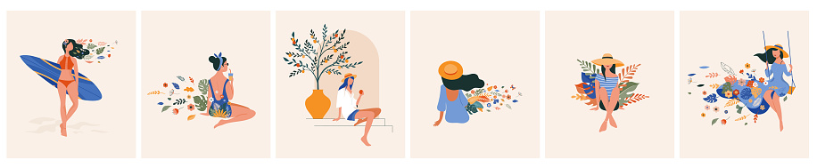 Vacation mood, feminine concept illustration, beautiful women in different situations, on the beach, sitting near the pool, reading books. Flat style vector design