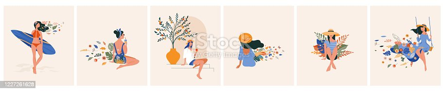 Vacation mood, feminine concept illustration series, beautiful women in different situations, on the beach, sitting near the pool, reading books. Flat style vector design