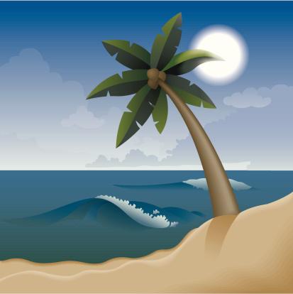 Отдых На Тропическом Пляже — стоковая векторная графика и другие изображения на тему Без людей