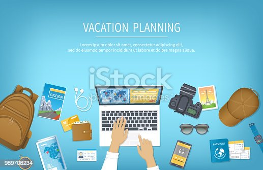 Vacation planning, packing Check List, reservation, booking a hotel. Preparing for travel, journey, trip. Table with baggage, air ticket, passport, ID card, wallet, guidebook, camera, compas, map.