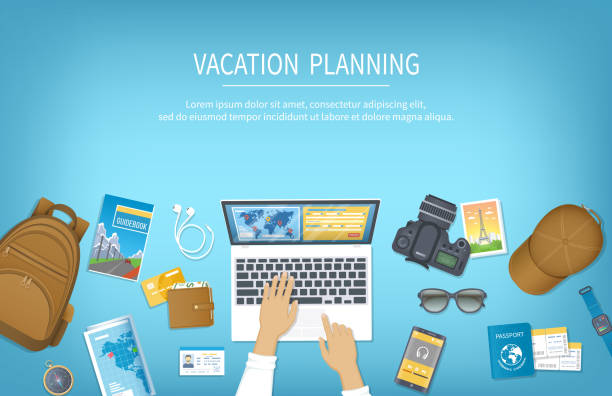 Vacation planning, packing Check List, reservation, booking a hotel. Preparing for travel, journey, trip. Table with baggage, air ticket, passport, ID card, wallet, guidebook, camera, compas, map. Vacation planning, packing Check List, reservation, booking a hotel. Preparing for travel, journey, trip. Table with baggage, air ticket, passport, ID card, wallet, guidebook, camera, compas, map. cartable stock illustrations