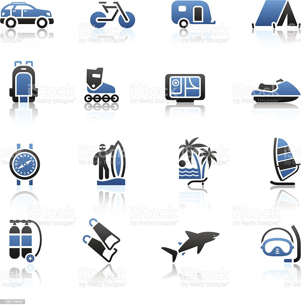 Vacation, Recreation & Travel, icons set. Sport, Tourism with...