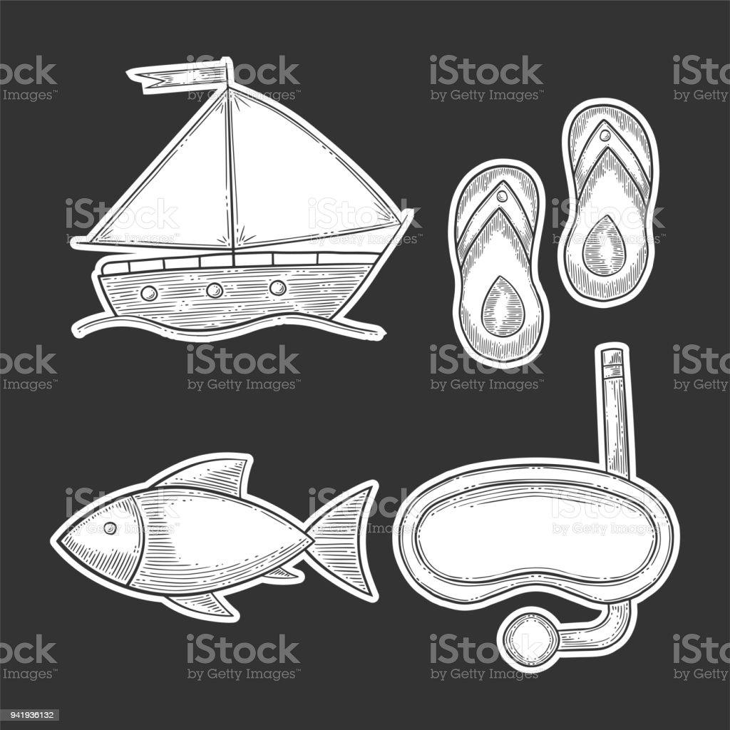 Vacances Ensemble Masque De Plongee Et Bateaux Voile Poisson Et