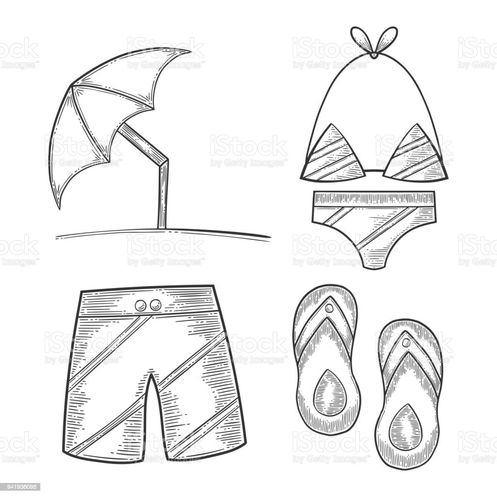 51ad145305 Vacation set, sun umbrella and swimming trunks, flip flops and swimsuit. Hand  drawn vector in engraving and sketch style. Isolated on white background -  ...