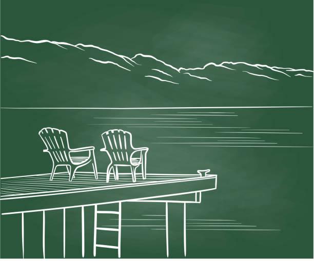 Vacation Shopping Chalkboard vector art illustration