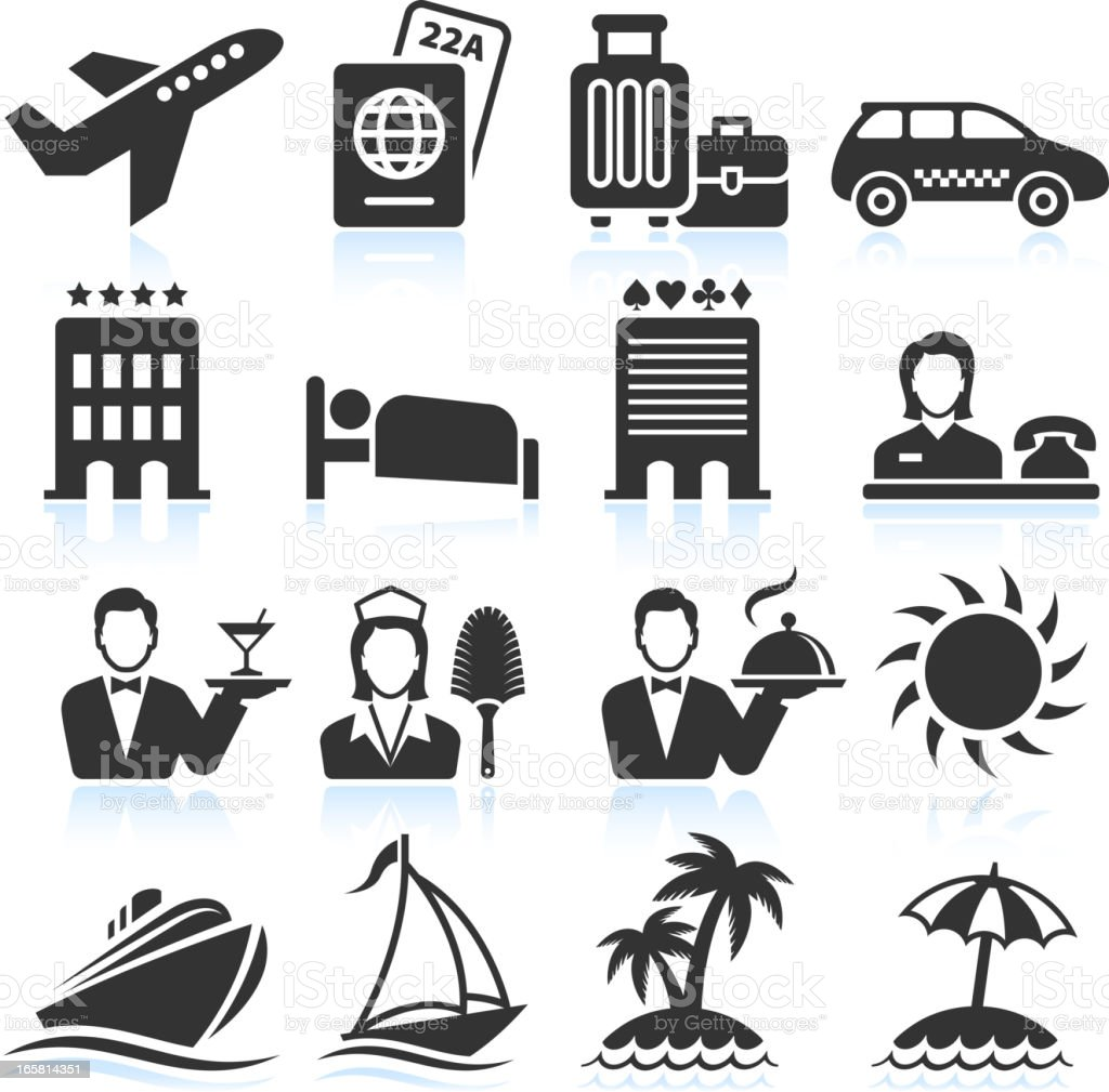 Vacation Travel black & white royalty free vector icon set vector art illustration