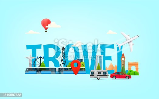 istock Vacation travel concept. Vector illustration with 3d style elements 1319587688