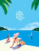 istock Vacation travel to seaside flat color vector 1213544483