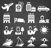 Vacation Travel Vector Icon Set on Black Chalkboard. This royalty free vector illustration features Vacation Travel Vector Icon Set on Black Chalkboard. Each 100% vector design element can be used independently or as part of this royalty free graphic set. The blackboard has a slight texture.