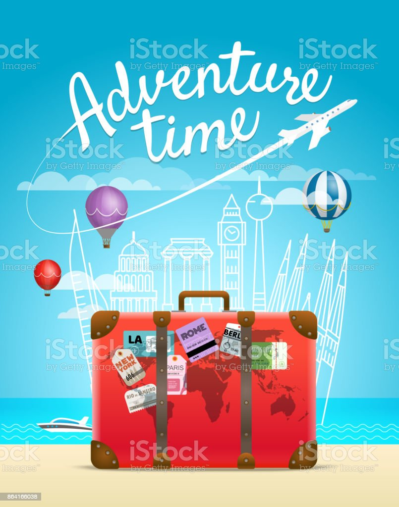 Vacation travelling composition with the bag. Adventure time concept royalty-free vacation travelling composition with the bag adventure time concept stock vector art & more images of adventure