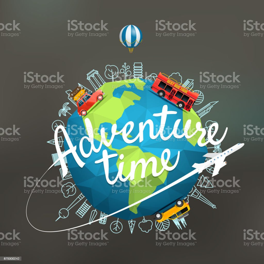 Vacation travelling composition with the Earth. Adventure time concept vector art illustration
