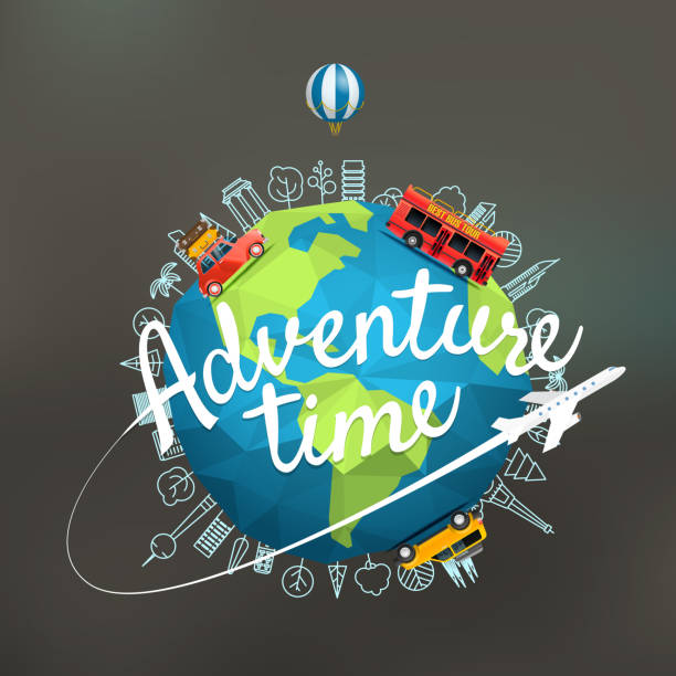 vacation travelling composition with the earth. adventure time concept - travel destinations stock illustrations