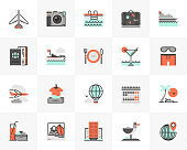 Flat line icons set of trip around the world to resort hotel. Unique color flat design pictogram with outline elements. Premium quality vector graphics concept for web, logo, branding, infographics.
