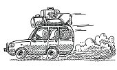 Hand-drawn vector drawing of a fast SUV at a Vacation Trip on a Gravel Road. Black-and-White sketch on a transparent background (.eps-file). Included files are EPS (v10) and Hi-Res JPG.