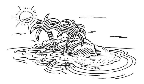 Vacation Tropical Island Sun And Ocean Drawing vector art illustration