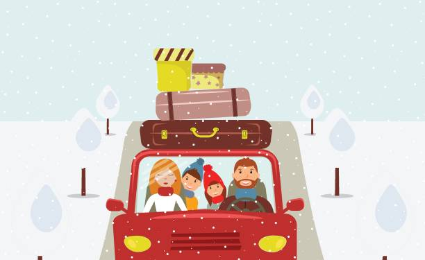 Vacation Beautiful cartoon family: young man, woman, son and daughter are going to Christmas vacation. Dad is driving a red car. There are a few suitcases and boxes on the roof of car. Road, trees. Vector christmas family stock illustrations