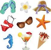 Fine colorful sea vacation icon set with 9 pictures: sandals, Plumeria,hat, bikini, sunglasses, star fish, sea horse, fruit juice, ice cream