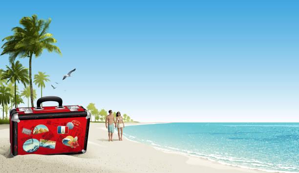 Beach holiday stock illustrations