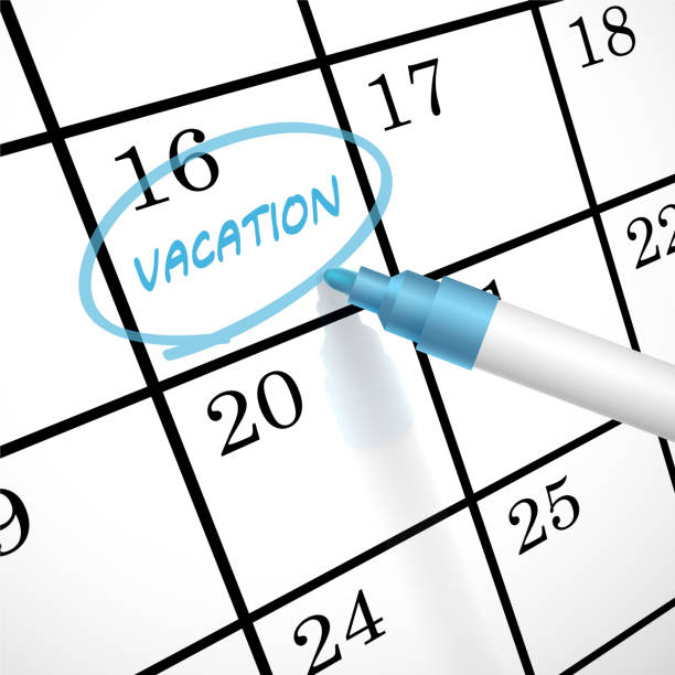vacation word circle marked on a calendar vacation word circle marked on a calendar by a blue pen holiday calendars stock illustrations