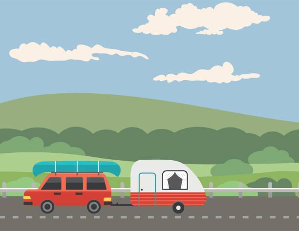 urlauber, die auf eine straße durch die berge fahren - landstraße stock-grafiken, -clipart, -cartoons und -symbole
