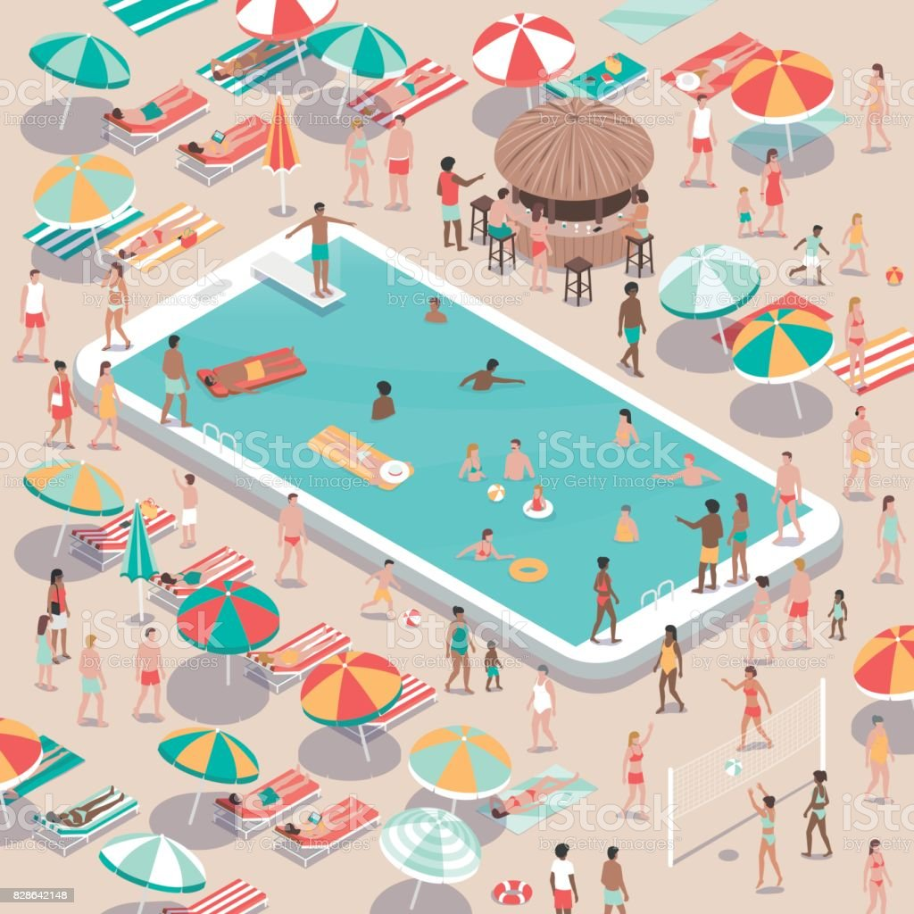 Vacations and technology vector art illustration