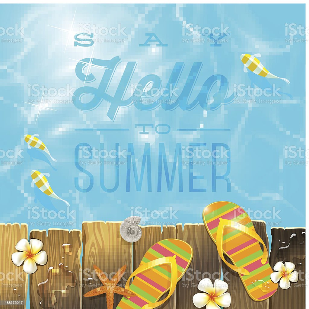 Vacations illustration with summer holidays greeting vector art illustration
