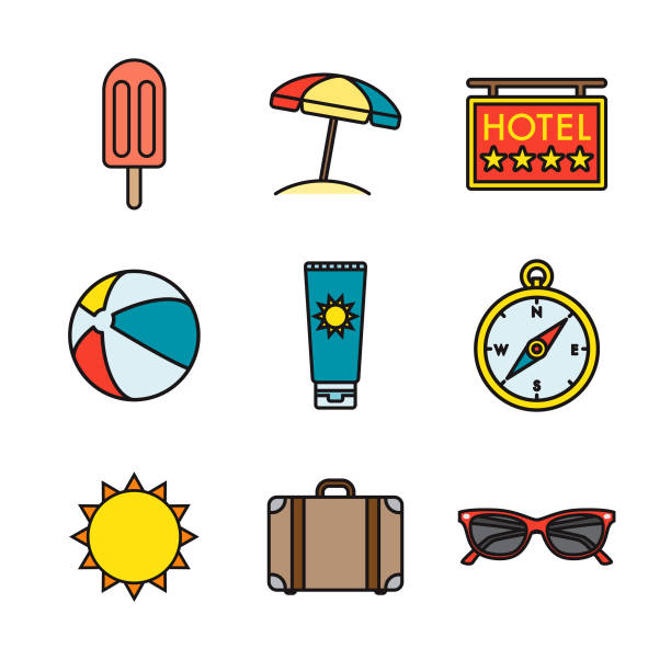 vacations thin line icon set - thin line fonts stock illustrations