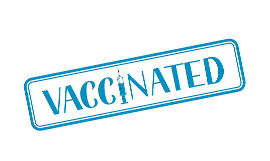 Vaccinated hand lettering with syringe isolated on white. Vaccination for coronavirus COVID-19. Vector template for typography poster, banner, flyer, sticker, t shirt, etc