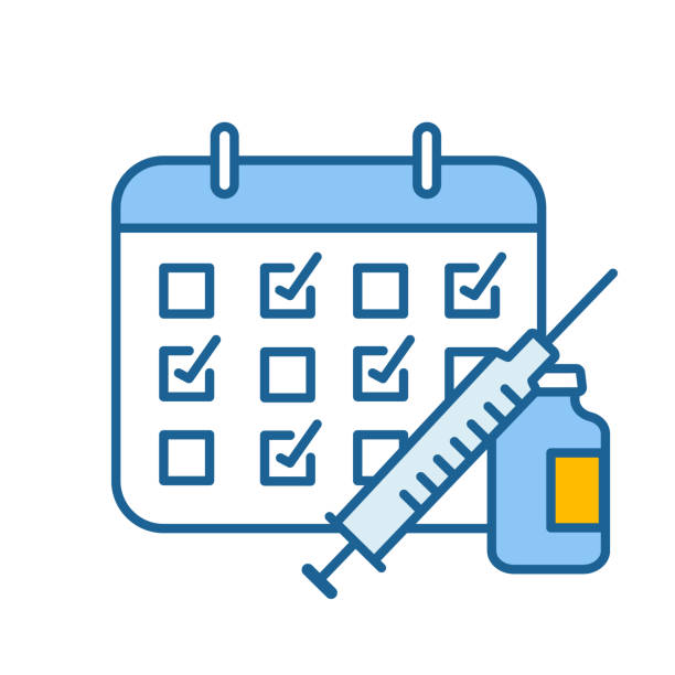 Vaccination calendar color icon Vaccination calendar color icon. Immunization schedule. Disease prevention. Isolated vector illustration vaccine stock illustrations