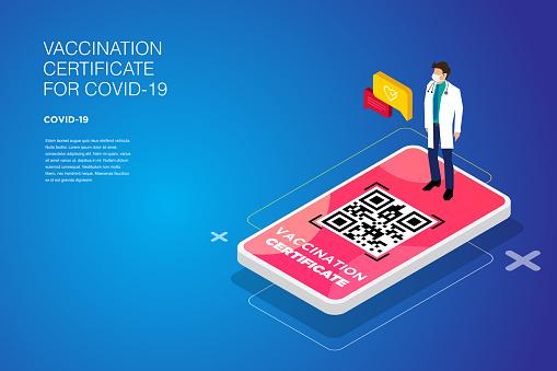 Vaccination Certificate on Screen of Smartphone. Isometric International Certificate of Immunization. stock illustration