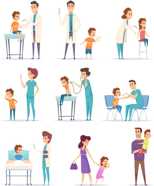 vaccination. childrens in hospital with doctor making injection girls and boys vector medical illustrations - pediatrician stock illustrations