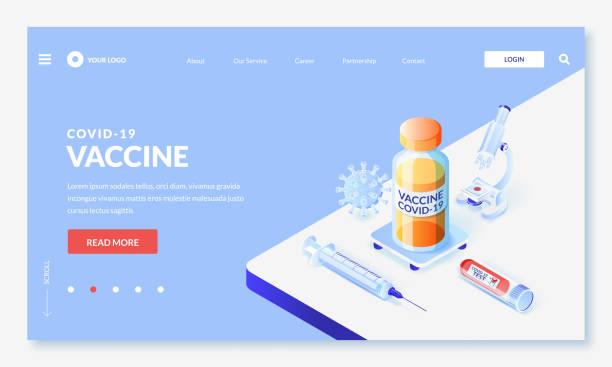 aşılama covid-19, tıbbi araştırma ve geliştirme kavramı. koronavirüs aşısının vektör 3d biyometrik illüstrasyonu - vaccine stock illustrations