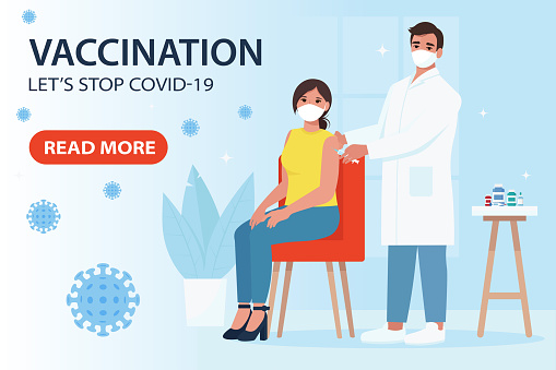 Vaccination from coronavirus covid-19. Doctor making Injection to Female Patient. Let's stop covid-19 landing page. Vector illustration in flat style