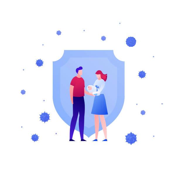 illustrations, cliparts, dessins animés et icônes de concept de soins de santé de vaccination. illustration de personnes plates de vecteur. parents retenant le bébé et protègent la protection de virus de bouclier sur le blanc. élément de conception pour bannière de médecine, affiche, fond, web, infog - vaccin enfant