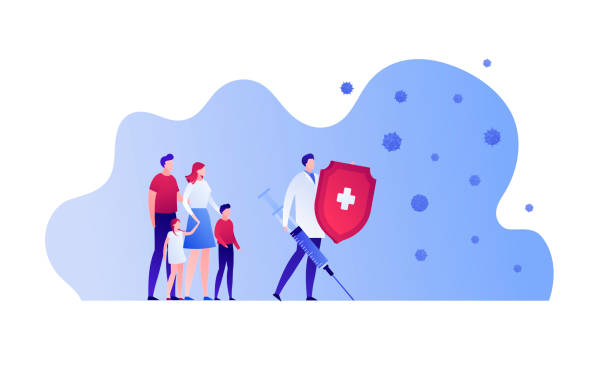 vaccination healthcare concept. vector flat people illustration. family and hero doctor with shield, vaccine syringe on white. design element for medicine banner, poster, background, web, infographic. - vaccine stock illustrations