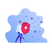 Vaccination healthcare concept. Vector flat people illustration. Hero doctor with red shield, vaccine syringe, and white cross. Design element for medicine banner, poster, background, web, infographic