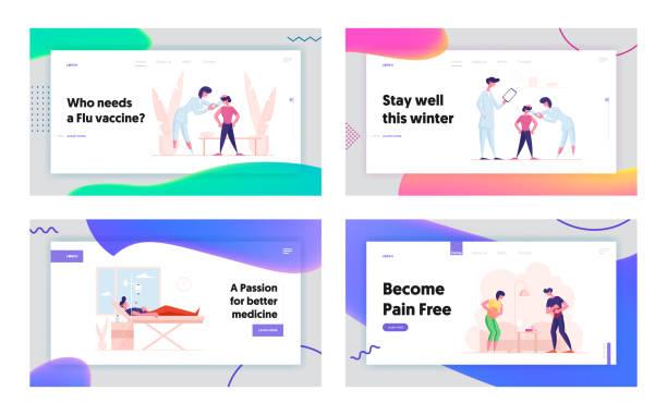 illustrations, cliparts, dessins animés et icônes de site web d'hospitalisation et de traitement de la vaccination plateau de page d'atterrissage. docteur injecter le vaccin à l'enfant, l'homme mentant avec le dropper dans la clinique, la femme a la bannière de page web de douleur. illustration plate de ve - vaccin enfant