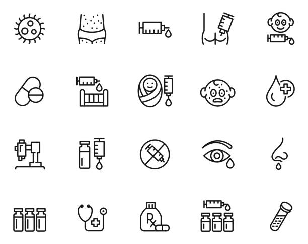 illustrazioni stock, clip art, cartoni animati e icone di tendenza di vaccination icon set - dose