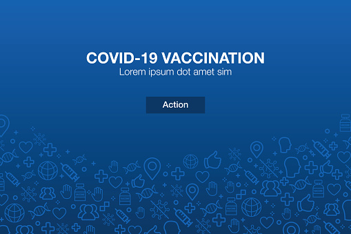 Vaccination Icons Mosaic Background with Call to Action