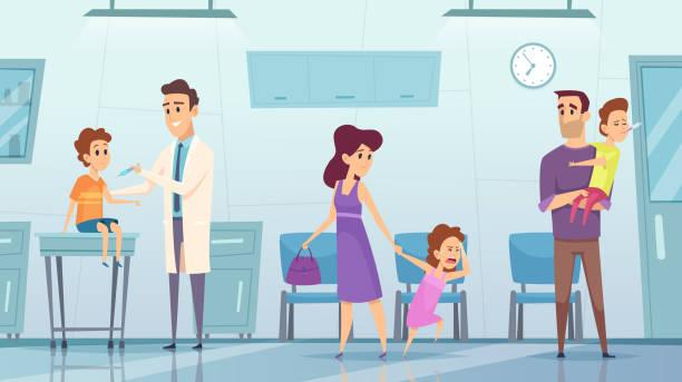 illustrations, cliparts, dessins animés et icônes de vaccination en clinique. photo de fond médical enfants hôpital médecin faisant l'injection de sécurité du concept de santé vecteur de grippe - vaccin enfant