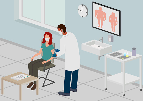 Vaccination in Doctor's Room, Isometric Perspective