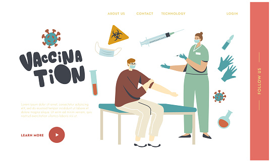 Vaccination Landing Page Template. Man Sitting in Medical Cabinet Applying Drug, Doctor Character Injecting Vaccine