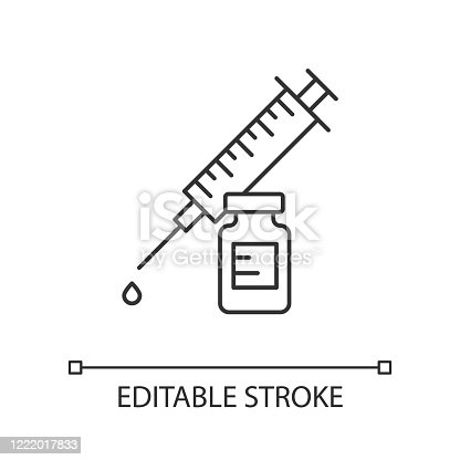 istock Vaccination linear icon. Syringe with vial. Common cold prevention. Immunization shot. Medication and pharmacy. Thin line illustration. Contour symbol. Vector isolated outline drawing. Editable stroke 1222017833