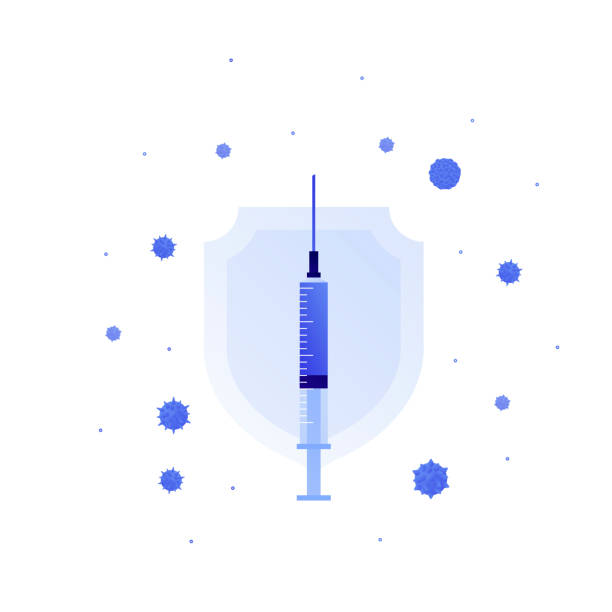 Vaccination medicine concept. Vector flat illustration. Virus sign, blue shield and syringe with vaccine isolated on white. Design element for banner, poster, background, web, healthcare infographic. Vaccination medicine concept. Vector flat illustration. Virus sign, blue shield and syringe with vaccine isolated on white. Design element for banner, poster, background, web, healthcare infographic. medical injection stock illustrations