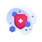 Vaccination medicine concept. Vector flat illustration. Virus sign, red shield and white cross. Design element for vaccine banner, poster, background, web, healthcare infographic.