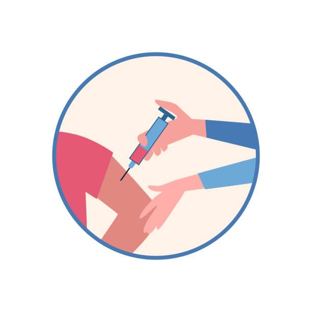 illustrations, cliparts, dessins animés et icônes de vaccination des personnes du vph, contre ebola, poliomyélite, coronavirus covid-19. l'infirmière fait une injection un coup du vaccin. icône vectorielle dans le modèle de dessin animé, mains, seringue. - vaccin enfant