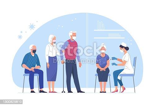 istock Vaccination of the elderly against coronavirus. 1300825810