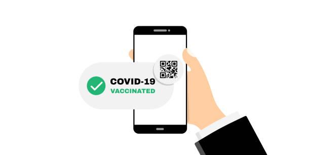 illustrations, cliparts, dessins animés et icônes de passeport de vaccination dans l'illustration du smartphone - pass sanitaire